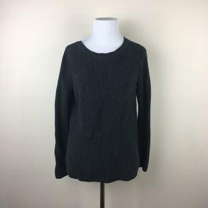 LOFT Black Knit Sweater Floral Open Back